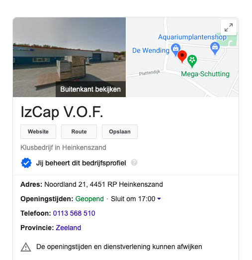 Google Business Pagina beheren