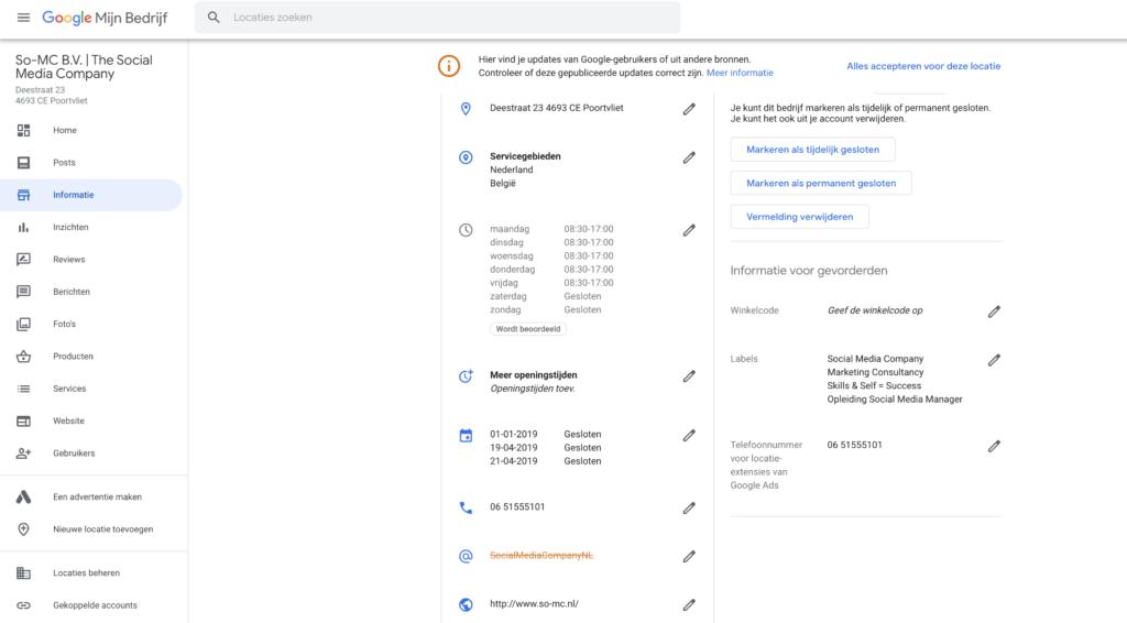 Google My Business Beheer
