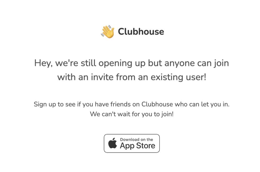 Clubhouse invite