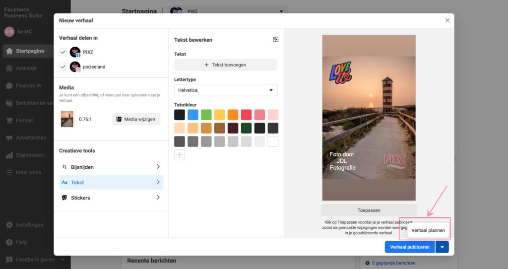 Stories Instagram inplannen via Business suite
