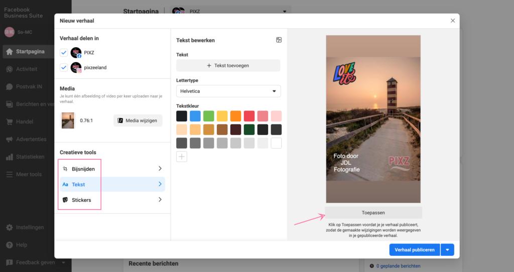 Stories bewerken via desktop
