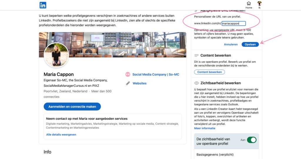 Zichtbare URL aanpassen op LinkedIn | Personal Branding