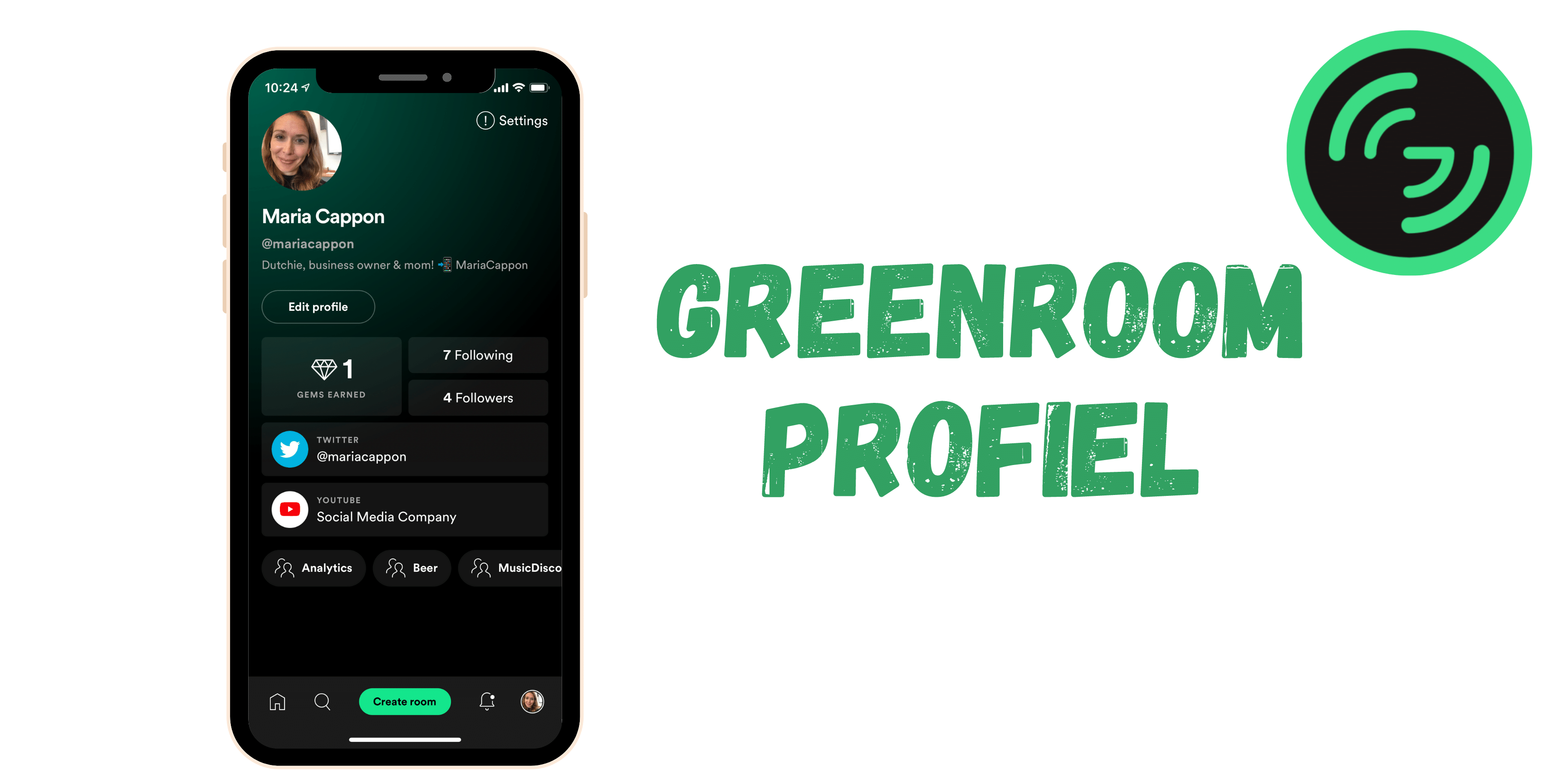 Greenroom profiel & gems