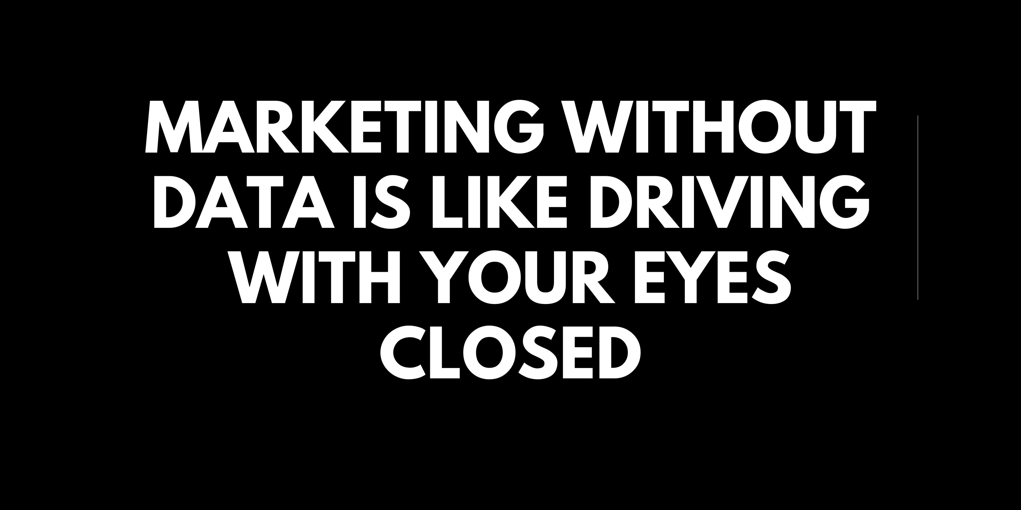Marketing without data is like driving with your eyes closed